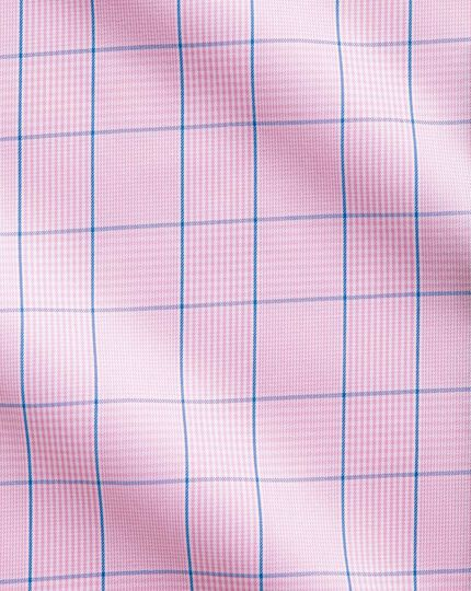 Classic fit non-iron Prince of Wales short sleeve pink shirt