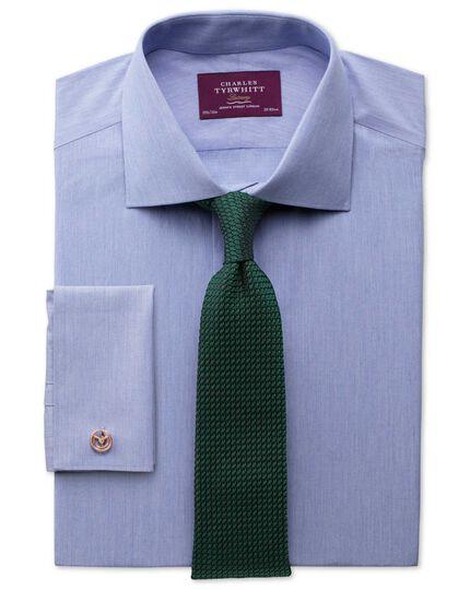 Extra slim fit semi-cutaway collar luxury poplin mid blue shirt