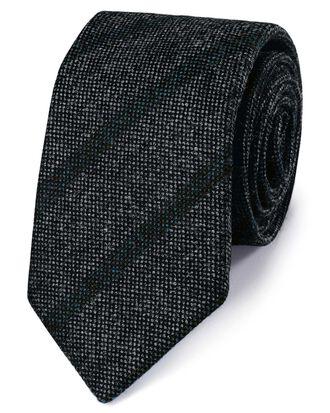 Cravate de luxe italienne grise et bleue en laine Shetland à rayures