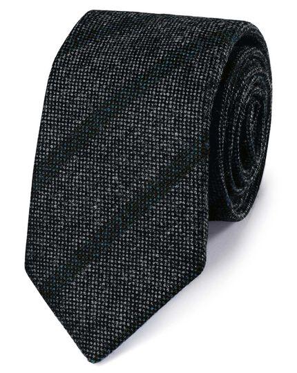 Grey and blue wool Shetland wool stripe Italian luxury tie