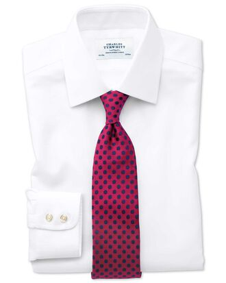 Bügelfreies Extra Slim Fit Hemd in Weiß mit gewebten Quadraten