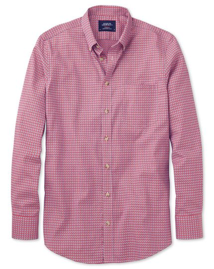 Classic fit non-iron poplin coral and navy check shirt
