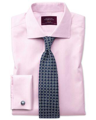 Bügelfreies Extra Slim Fit Luxushemd mit Semi-Haifischkragen in Rosa mit Streifen