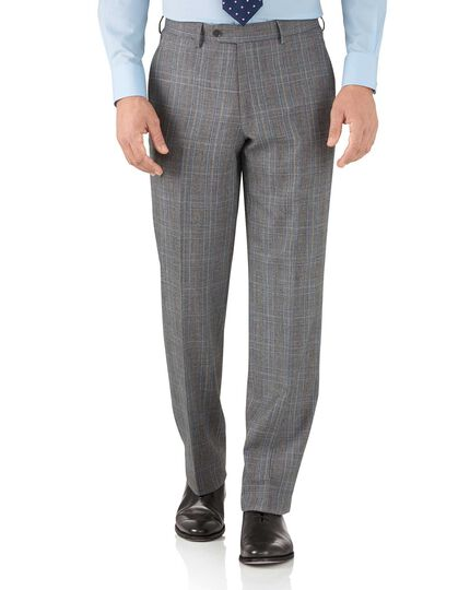 Silver Prince of Wales classic fit flannel business suit trousers