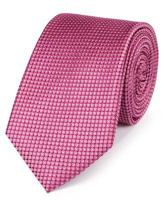 Cravate classique rose en soie partiellement unie à micro pois