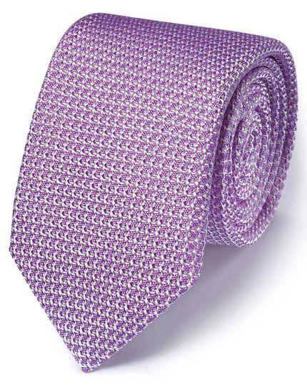 Lilac silk Italian luxury plain grenadine tie