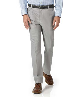 Silver slim fit stretch non-iron pants