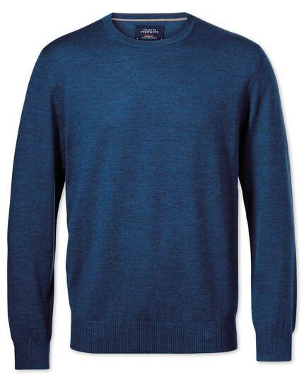 Mid blue merino wool crew neck jumper