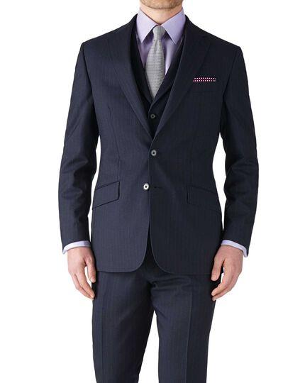 Dark blue stripe slim fit flannel business suit jacket