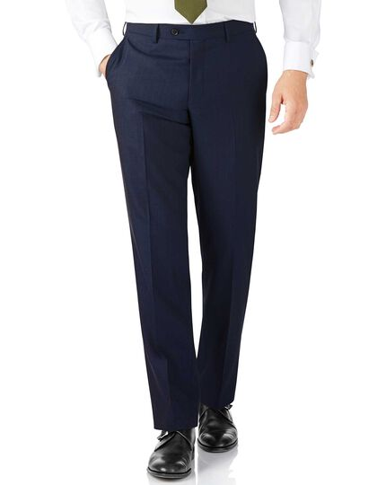 Classic Fit Panama-Businessanzug Hose in Blau mit Streifen