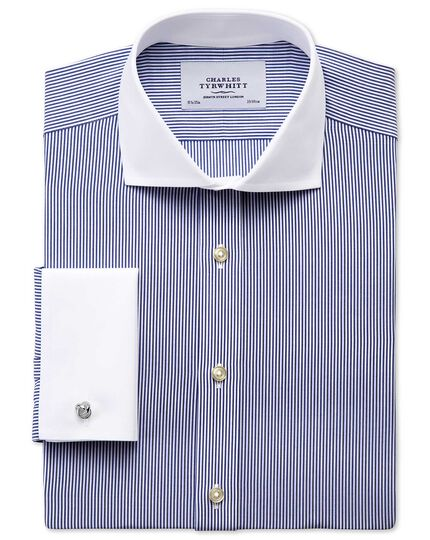 Slim fit spread collar non-iron bengal stripe navy Winchester shirt