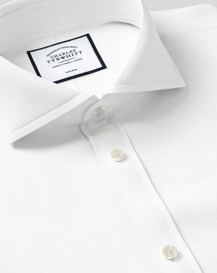 Extra slim fit extreme spread collar non-iron twill white shirt
