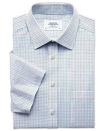 Classic fit non-iron grid check green and purple short sleeve shirt