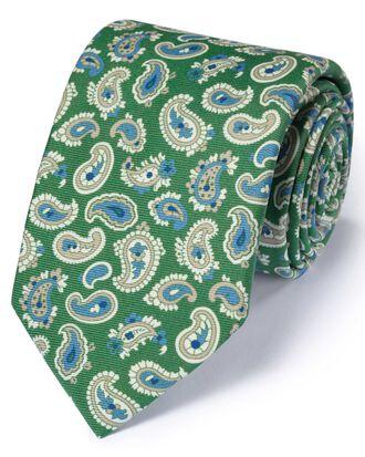 Luxuriöse englische Seidenkrawatte in Grün mit Paisleymuster