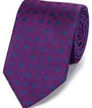 Navy and berry silk hexagon geometric English luxury tie