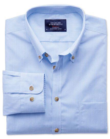 Bügelfreies Classic Fit Hemd aus Popeline in Himmelblau mit Streifen