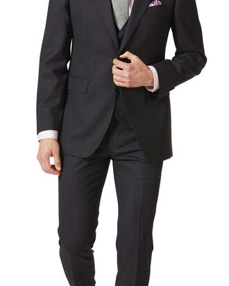 Charcoal slim fit birdseye travel suit