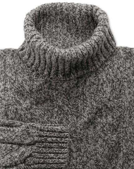Grey mouline roll neck sweater