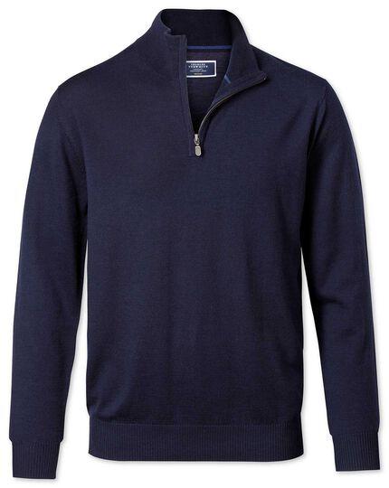 Pullover aus Merinowolle mit Reißverschlusskragen in Marineblau