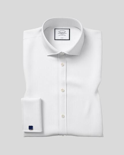Classic fit spread collar non-iron poplin white shirt