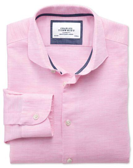 Slim fit cutaway collar business casual linen cotton light pink shirt
