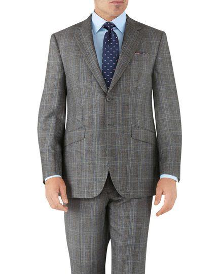Veste de costume business argent Prince de Galles coupe droite en flanelle