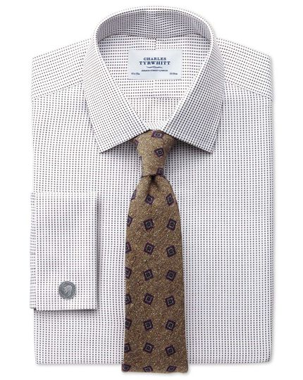 Slim fit Pima cotton double-faced brown shirt