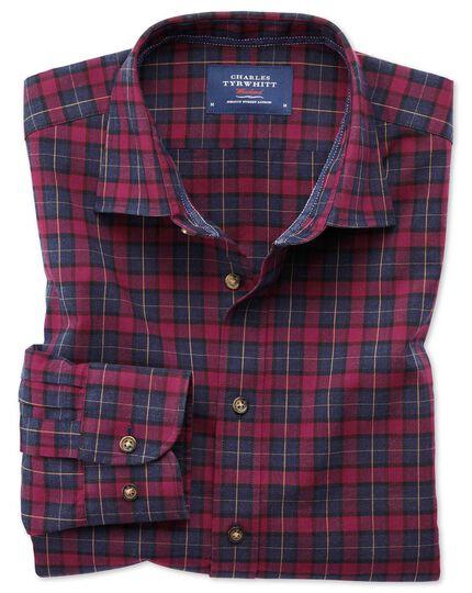 Slim fit heather plaid burgundy and navy blue check shirt