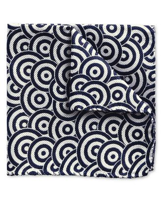 Blue and white English circle End-on-End luxury pocket square