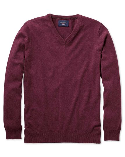 Wine cotton cashmere v-neck jumper