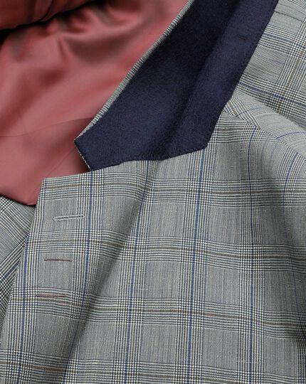 Veste en mélange de lin à carreaux bleus coupe droite