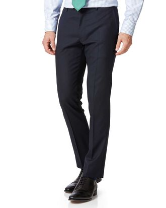 Navy extra slim fit Merino business suit trousers