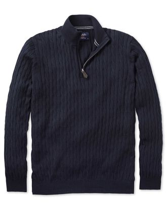 Navy cotton cashmere cable zip neck sweater