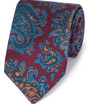 Luxuriöse englische Seidenkrawatte in Burgunderrot und Blau mit Paisley Muster