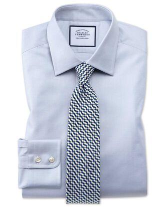 Chemise grise en coton égyptien coupe droite à tissage effet treillis