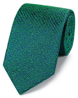 Green silk textured English luxury tie