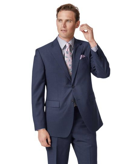 Mid blue classic fit twill business suit jacket