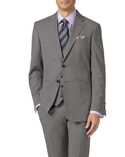 Gilet de costume argent en tissu italien coupe ajustable à effet quadrillé
