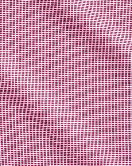 Bügelfreies Slim Fit Hemd in Magenta mit gewebten Quadraten