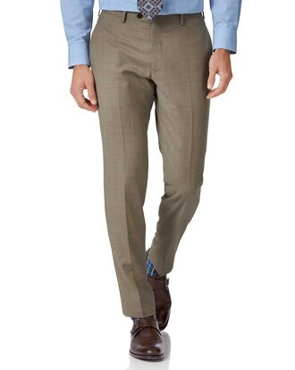 Fawn slim fit twill business suit trousers