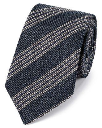 Navy and white linen mix grenadine stripe Italian luxury tie