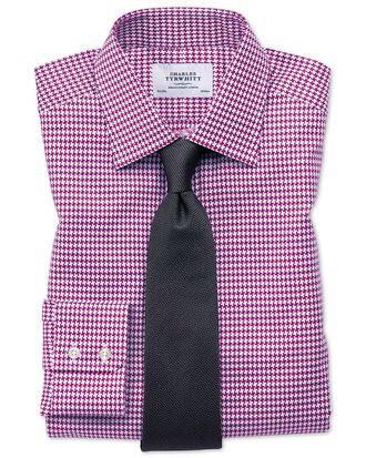 Classic Fit Hemd in Beerenrot mit großem Hahnentritt