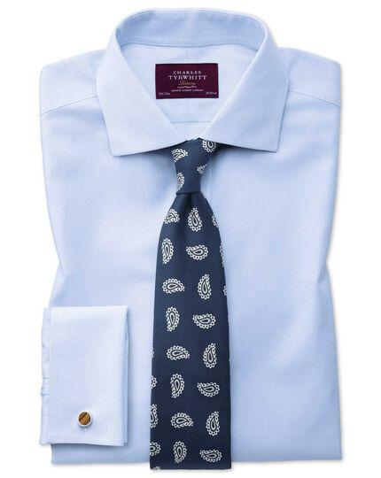 Extra slim fit semi-cutaway non-iron luxury hairline stripe sky blue shirt