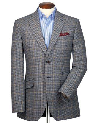 Veste bleu et beige en tweed britannique slim fit à carreaux