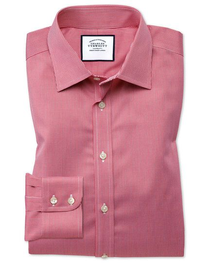 Classic fit non-iron puppytooth bright pink shirt