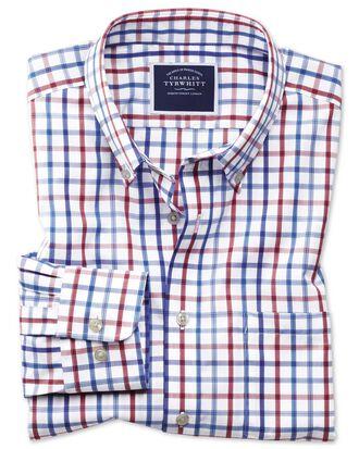Chemise rouge en popeline coupe droite à carreaux et col boutonné sans repassage