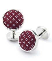 Burgundy geometric silk cufflinks