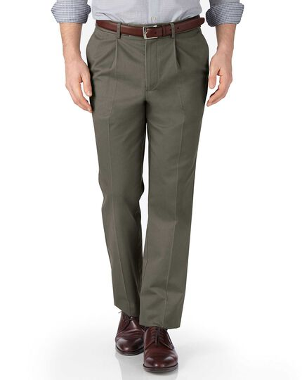 Olive green classic fit single pleat non-iron chinos