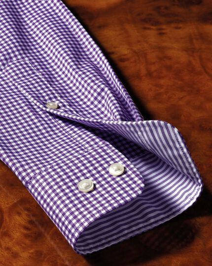Bügelfreies Extra Slim Fit Oxfordhemd in Lila mit Gingham-Karos