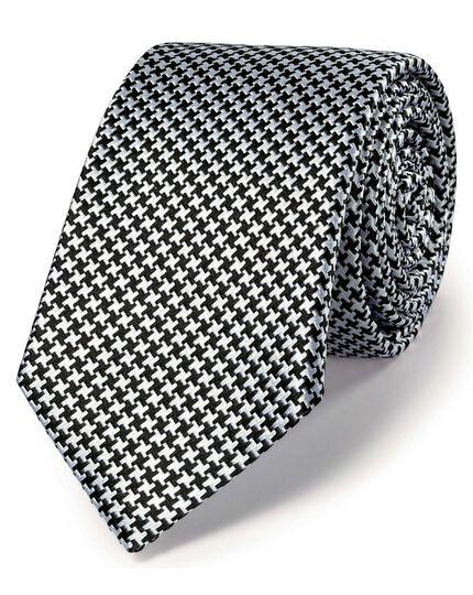 Black silk classic puppytooth slim tie